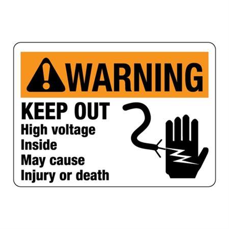 ANSI  KEEP OUT HighVoltageInsideMay CauseInjury/Death