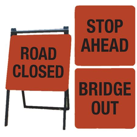 A-Frame Sign Kit - ROAD CLOSED,STOP AHEAD,BRIDGE OUT