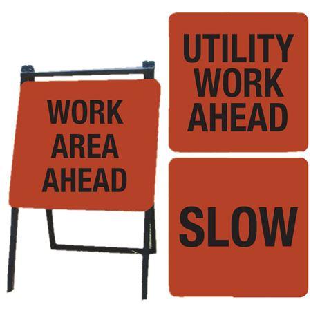 A-Frame Sign Kit - WORK AREA AHEAD, UTILITY WORK AHEAD, SLOW