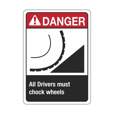 Danger All Drivers Must Chock Wheels Sign