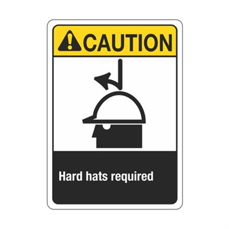 Caution Hard Hats Required Sign