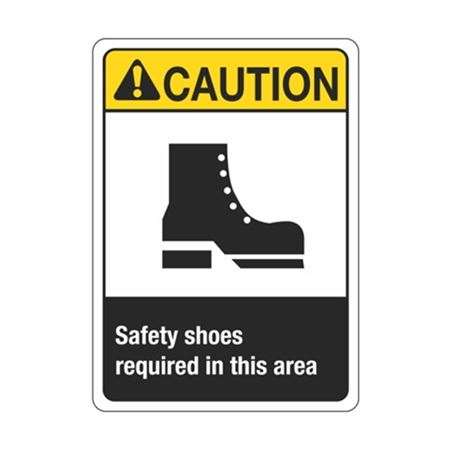 Caution Safety shoes required In This Area Sign