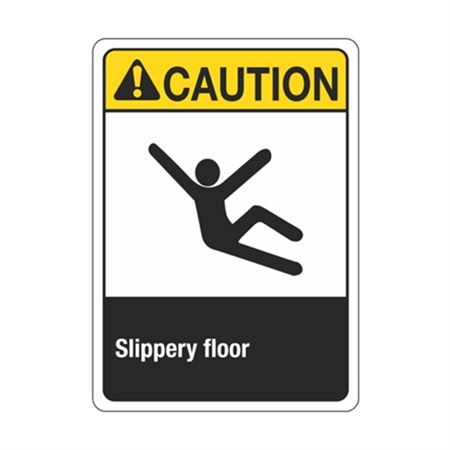 ANSI Caution Slippery Floor Sign - Graphic