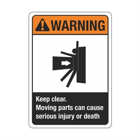WarningKeepClearMovingPartsCanCause InjuryOrDeath Sign