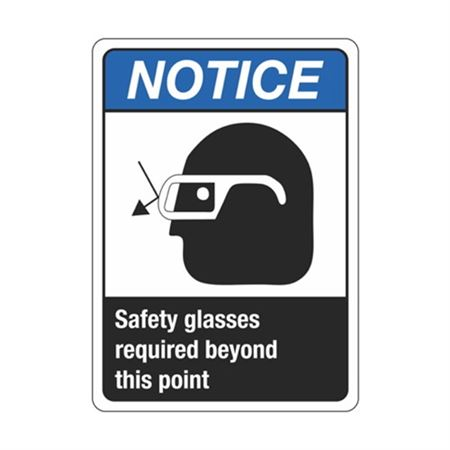 Notice Safety Glasses Required Beyond This Point Sign