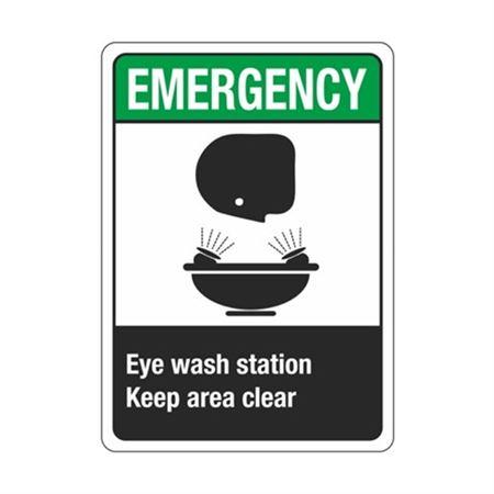 Emergency Eye Wash Station Keep Area Clear Sign