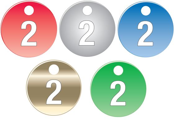 """Colored Anodized Aluminum Tags - Numbers 1-25 - 1 1/2"""""""