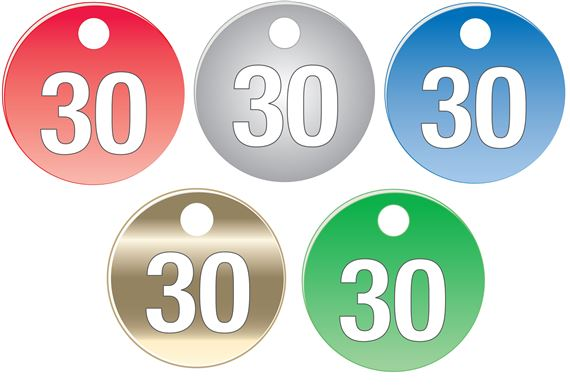 """Colored Anodized Alum Valve Tags-1 1/2""""-Numbered 26-50"""