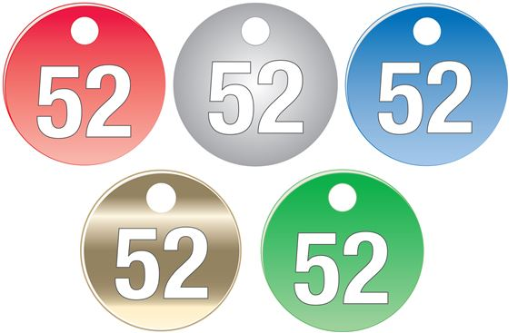 """Colored Anodized Aluminum Tags - Numbers 51-75 - 1 1/2"""""""
