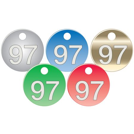 """Colored Anodized Aluminum Tags - Numbers 76-100 - 1 1/2"""""""