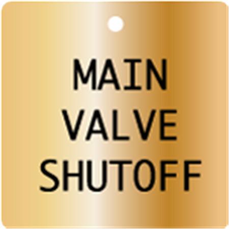 Engraved Valve Tags - Custom - Brass Square 1.5 x 1.5