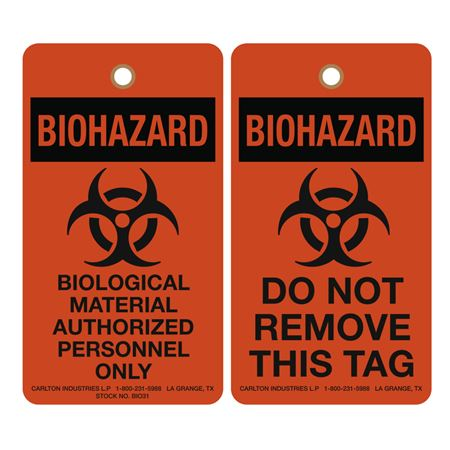 Biohazard Bio Material Authorized Personnel Only 3-1/8 x 5-5/8