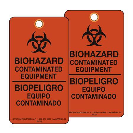 Biohazard Bilingual Warning Tags Orange 3 1/8 x 5 5/8