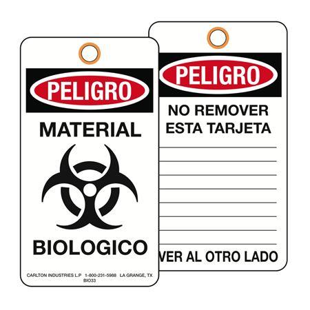 Peligro Material Biologico Biohazard Tag 3 1/8 x 5 5/8