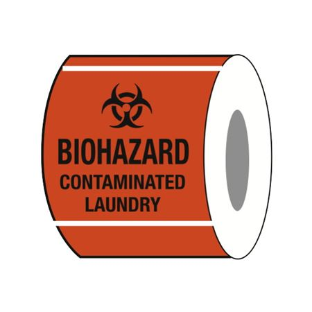 Paper Labels Biohazard Contaminated Laundry 4 x 4