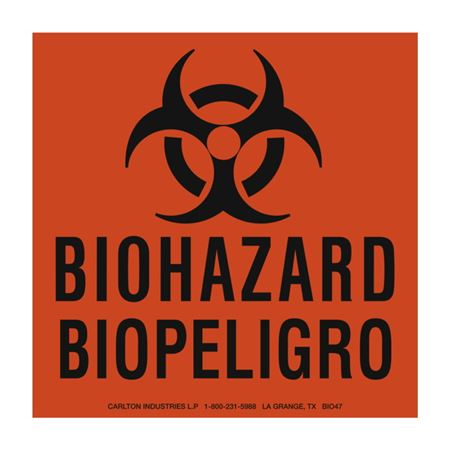 BioHazard/BioPeligro Bilingual BioHazard Labels 6 x 6
