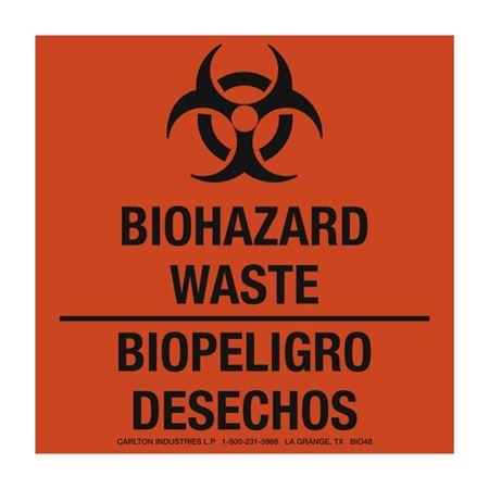 Bilingual Warning Labels - Biopeligro Desechos