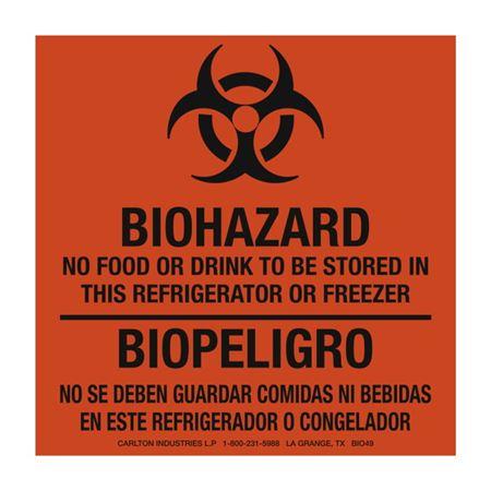 Biohazard Label No Food Or Drink Bilingual - 6 x 6 RL/500