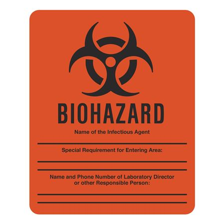 Dual Purpose Write-On Sign for Lab Entry Biohazard 10-1/2 x 8-1/2