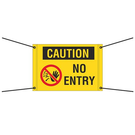 Bungee Barrier Sign - Caution No Entry - 30x20