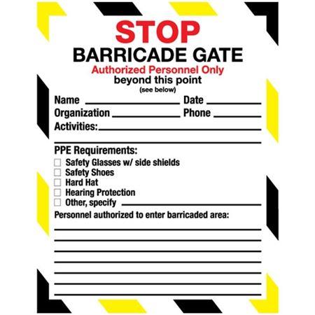 Barricade Gate Tag - 8 1/2 x 11