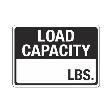 Load Capacity_____ Lbs Sign