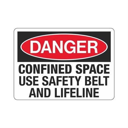 Confined Space Use Safety Belt And Lifeline Sign