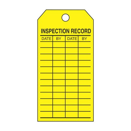 "Single-Sided Inspection Tags - Inspection Record - Yellow Cardstock 2 7/8"" x 5 3/4"""