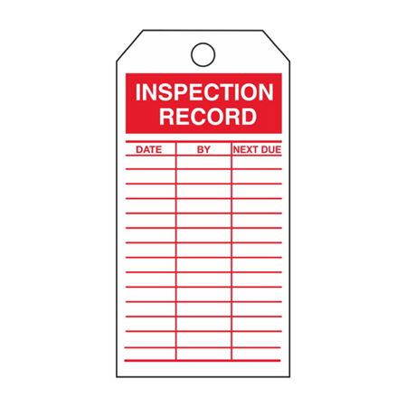 """Single-Sided Inspection Tags - Inspection Record - Red Cardstock 2 7/8"""" x 5 3/4"""""""