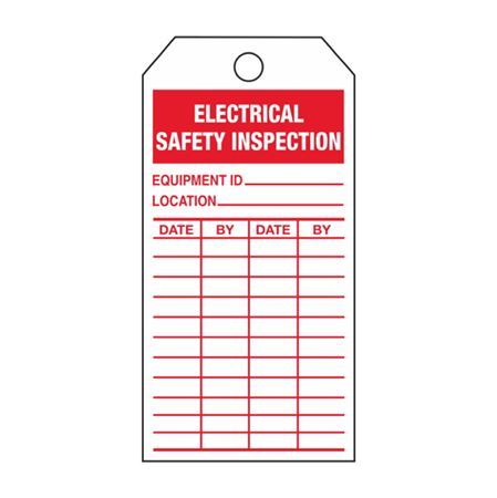 Single-Sided Inspection Tags - Electrical Safety Inspection - Red Cardstock 2.875 x 5.75
