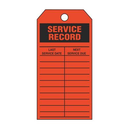 Service Record - Orange Cardstock Tag - 2 7/8 x 5 3/4
