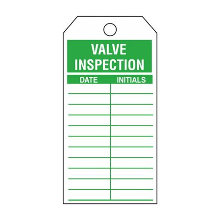 Single-Sided Inspection Tags - Valve Inspection - Green Cardstock 2.875 x 5.75