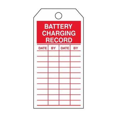 Single-Sided Inspection Tags - Battery Charging Record - Red Cardstock 2.875 x 5.75