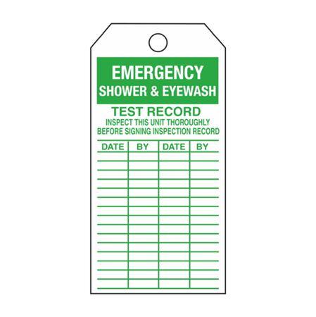 Single-Sided Inspection Tags - Emergency Shower & Eyewash - Green Cardstock 2.875 x 5.75