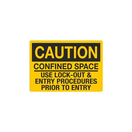 Confined Space Decals - Caution Confined Space Use Lock-Out & Entry Procedures Prior To Entry 3.5 x 5