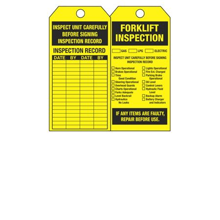 Dual-Sided Tags - Forklift Inspection - Yellow Cardstock 2.875 x 5.75