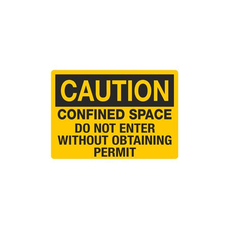 Confined Space Decals - Caution Confined Space Do Not Enter Without Obtaining Permit 3.5 x 5