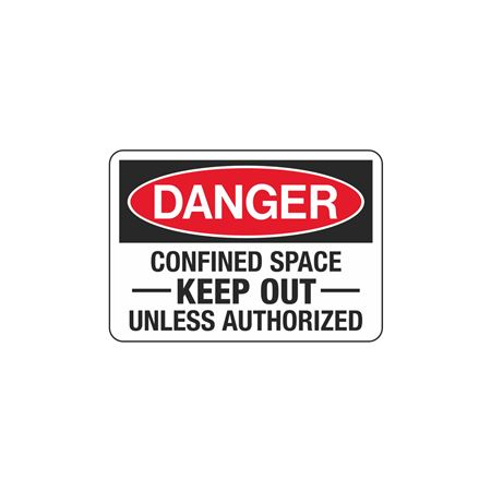 Confined Space Decals - Danger Confined Space Keep Out Unless Authorized 3.5 x 5