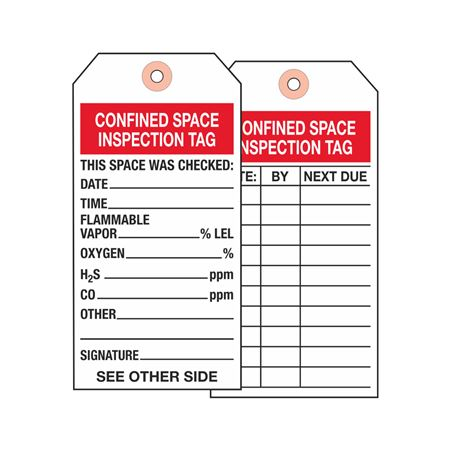 Confined Space Inspection Tag - Cardstock 2.875 x 5.75