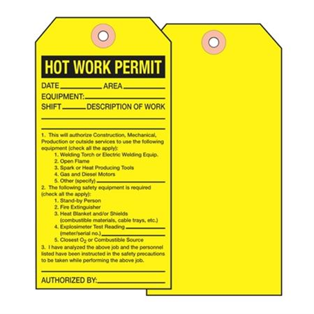 Hot Work Permit Tag - Cardstock  2 7/8 x 5 3/4