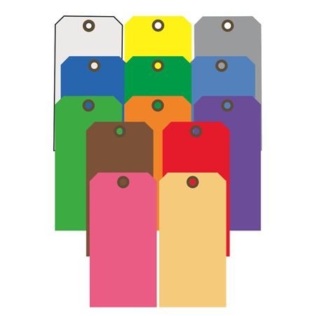 Color Coded Cardstock Tags-1 5/8 x 3 1/4- PK/100-Std Colors