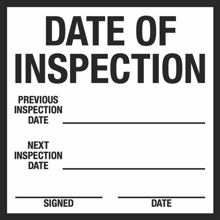 Date of Inspection & Out of Service Label 6 x 6