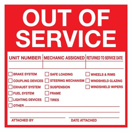 """Out of Service Label - 6"""" x 6"""""""