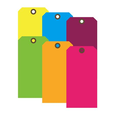 Color Coded Cardstock Tags 2 5/8 x 5 1/4 PK/100 Fluor Colors