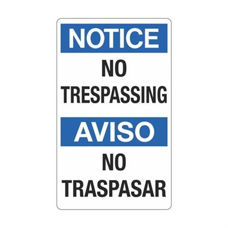 Notice No Trespassing / Aviso No Trespasar Sign