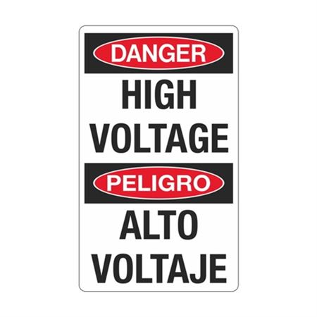Danger High Voltage / Peligro Alto Voltaje Sign - 12 x 20