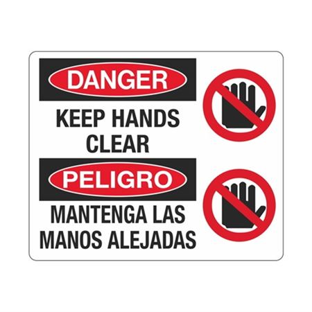 Danger Keep Hands Clear / Bilingual Sign