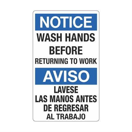Notice Wash Hands Before Returning To Work(Bilingual)Sign