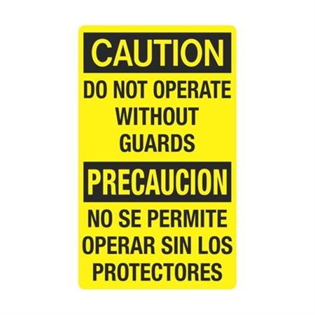 Caution Do Not Operate Without Guards Bilingual Sign