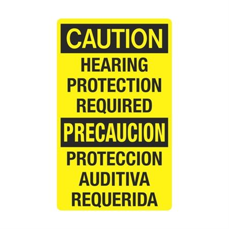 Caution Hearing Protection Required / Bilingual Sign